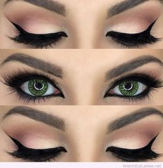 Gorgeous nude and black eye makeup for green eyes