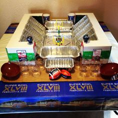 My family's attempt at a Super Bowl Snack Stadium!!