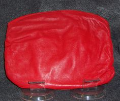 Vintage Italian Red Leather Soft Clutch with zipper Closure- Circa 1980's by CurvyGirlCrafting78 on Etsy