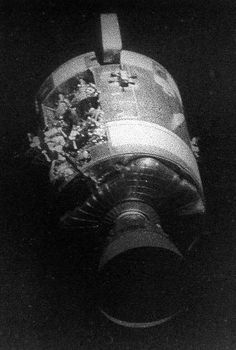 Damage to the Apollo 13 spacecraft from the oxygen tank explosion. Credit: NASA.  Series of articles 45th anniversary of Apollo 13.