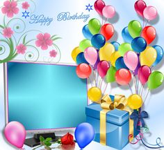 Happy Birthdays 🎈 - 2015 June - Happy birthdays (With images) Happy Birthday Ballons, Happy Birthday Wishes Cake, Happy Birthday Frame, Birthday Photo Frame, Happy Birthday Kids, Happy Birthday Celebration, Birthday Frames, Birthday Background, Singing Happy Birthday
