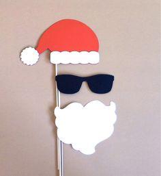 Santa Claus Christmas Photo Booth Props - Holiday PhotoBooth Props Christmas Party Decorations Photo Prop Christmas Card Prop