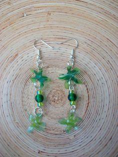 ReJenisis, upcycled plastic bottle flower earrings in green