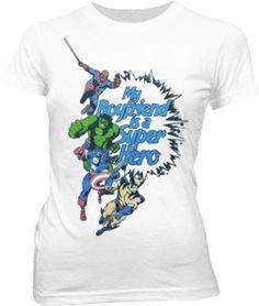 Marvel Heroes My Boyfriend Is A Superhero White Juniors T-shirt