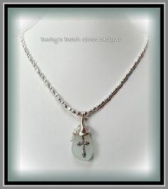 Pale sea foam beach glass cross necklace, $31.00