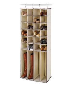 Natural 28-Pocket Hanging Shoe & Boot Organizer - perfect depth for my crazy shallow closet by the bathroom - towel organizer!