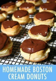 Dunkin' Delights: The Best Boston Cream Donut Recipe Learn how to make bakery-worthy Boston cream donuts at home with this recipe that produces crisp edges, creamy, smooth filling & decadent chocolate Cream Donut Recipe, Best Donut Recipe, Boston Creme Donut Recipe, Easy Cream Filled Donut Recipe, Custard Filled Donut Recipe, Recipe Of Donuts, Delicious Donuts, Delicious Desserts, Yummy Food