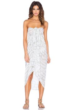 Indah Hailey Printed Scarf Sarong in White Zulu