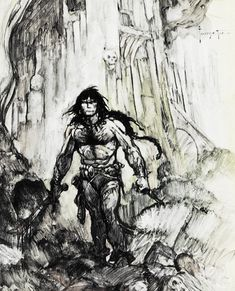 Frank Frazetta sketch of Conan