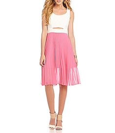 fda6b113904 B Darlin TieBack Pleated TeaLength Dress  Dillards Tea Length Dresses