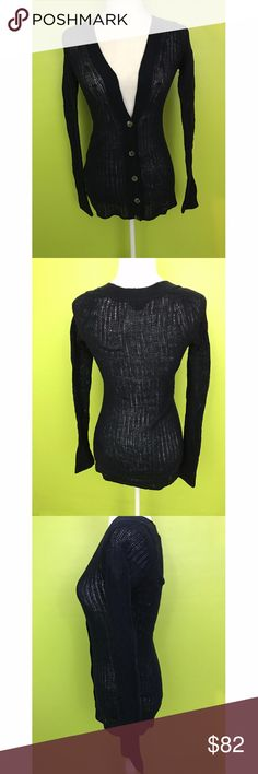 """Bird Juicy Vouture Black Knit Thin Sweater XS B837 New Without Tag  Top  Bust - 32"""" Waist - 30"""" Length - 28"""" Sleeve - from neck 31""""  Bird Juicy Vouture Long Sleeve Deep V Neck  3 Big Buttons Knit Thin Sweater Sz XS NWOT  Free shipping on orders over $75 Juicy Couture Sweaters"""