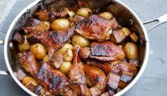 Roasted chicken and eggplant in pomegranate and date molasses
