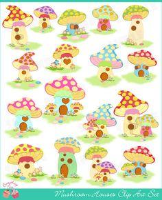 Mushroom Houses Clip Art Set by 1EverythingNice on Etsy, $5.00