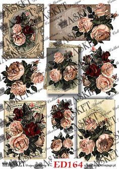 paper decoupage Ana White, Printables, Blog, Vintage, Flowers, Projects, Paper, Blogging, Vintage Comics