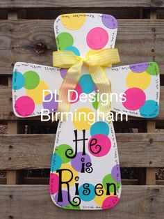 Items similar to He is Risen Easter Cross Door hanger or wall hanging on Etsy He is Risen Easter Cross Door hanger or by DLDesignsBirmingham Cross Door Hangers, Wooden Door Hangers, Cross Crafts, Easter Cross, Craft Day, He Is Risen, Hoppy Easter, Easter Wreaths, Holidays And Events