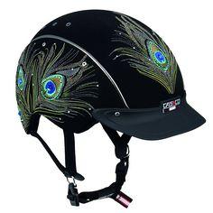Casco's bedazzled peacock helmet-  How fun is this!?
