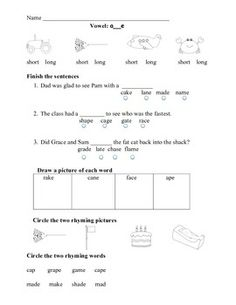 Long Vowels: Practice and Assessments Vowel Practice, Vowel Digraphs, Long Vowels, Alphabet Coloring Pages, Teaching Resources, Teaching Ideas, Architecture Quotes, Tracing Letters, Vowel Sounds