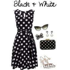 Black and White Polka Dot by selenamarie318, via Polyvore