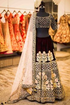 You can be assured to make a great style statement with this navy blue velvet taffeta silk lehenga. This lehenga is enhanced with embroidery work all over.Buy this latest designer lehenga choli online .Paired with matching choli and net dupatta Indian Wedding Lehenga, Indian Lehenga, Indian Bridal Wear, Indian Wedding Outfits, Best Wedding Dresses, Bridal Outfits, Bridal Lehenga, Indian Outfits, Wedding Lehanga