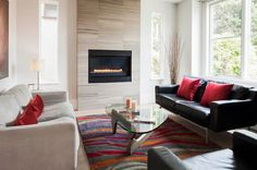 Most modern fireplaces are placed high off the floor for practical reasons