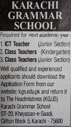 ICT Teacher,Class Teachers Jobs  Karachi Grammar School Jobs For Teachers, Class Teacher, Grammar School, Kindergarten, Kindergartens, Preschool, Preschools, Pre K, Kindergarten Center Management