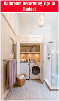 38 Functional And Stylish Laundry Room Design Ideas To Inspire Small Spaces, Basement Laundry Room, Hidden Laundry, Bathroom Design Small, Bathroom Design, Bathroom Decor, Laundry Room Bathroom, Room Layout
