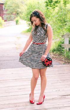 Red heels & belt - striped dress - Ladybug purse - flower headband - great summer outfit!