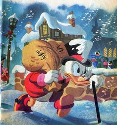 """Disney Christmas Image for today is a classic piece by Disney comic book legend Karl Barks, depicting Uncle Scrooge as Ebenezer Scrooge. This illustration predates the 1983 animated version of """"Mickey's Christmas Carol"""" by several years. Walt Disney, Disney Duck, Cute Disney, Disney Magic, Disney Mickey, Scrooge A Christmas Carol, Mickey Christmas, Disney And Dreamworks, Disney Pixar"""