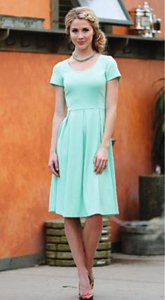 This is one of my favorites on ModestPop.com: Ivy Dress (Mint)