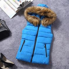 New for winter fur collar vest down Joker cotton hooded vest women's vestidos waistcoat