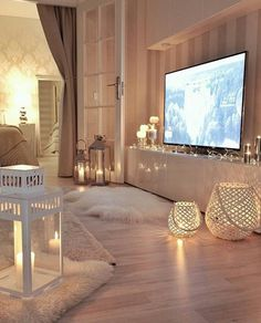 fur rug and lanterns