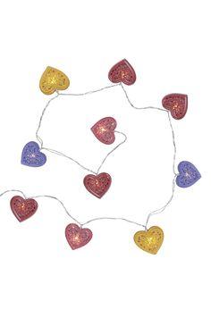 Primark - 10 luzes LED corações coloridos metal