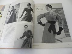 Vogue Pattern Book, December-January 1953-1954 featuring Vogue 1239 (Griffe), 1234 (Dessès) and 1235 (Patou) on the left page, 1237 by Jacques Fath on the right page