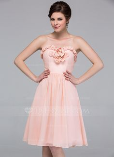 Bridesmaid Dresses - $99.99 - A-Line/Princess Sweetheart Knee-Length Chiffon Bridesmaid Dress With Flower(s) (007037277) http://jjshouse.com/A-Line-Princess-Sweetheart-Knee-Length-Chiffon-Bridesmaid-Dress-With-Flower-S-007037277-g37277