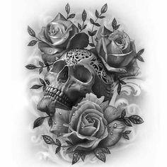 Skull roses drawing by artist savanna hamiltime Shared by porkydukecityink supportartists theartisthemotive # Skull Rose Tattoos, Body Art Tattoos, Sleeve Tattoos, Tattoo Sugar Skulls, Pretty Skull Tattoos, Neue Tattoos, Bild Tattoos, Body Tattoo Design, Tattoo Designs