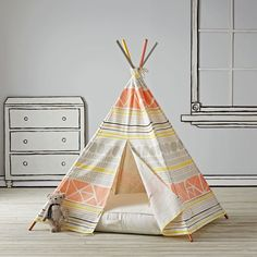 Shop Aztec Kids Teepee.  Everyone needs a little space just for themselves.  This geometric kids teepee is the perfect home away from home while trailblazing the playroom frontier.