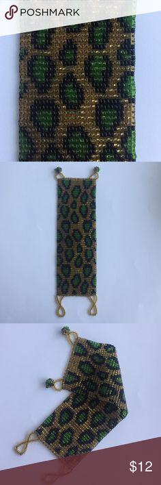 🐯Artisan Made Beaded Leopard Loom Cuff Never worn Artisan Made Beaded Leopard Loom Cuff - ball and Loop clasp - Lovely Feel - Beautiful Leopard Loom Pattern - never worn Jewelry Bracelets