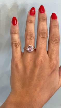 Rose - what a precious color. Our Rachael is 14k rose gold elegance and mystic wrapped into one. She has a stunning, conflict free 2ct oval cut pink sapphire at her center that we know will make your partner's heart melt. Her sapphire is surrounded by a diamond halo and hugged on either side by a vintage inspired split shank band. Setting only prices: 14k Rose, White, or Yellow Gold setting $2650 Platinum setting $3150 #kenanddanadesign #customdesign #nycjeweler #engagementring #pinksapphire Vintage Inspired Engagement Rings, Rose Gold Engagement, Gemstone Engagement Rings, Oval Diamond, Diamond Gemstone, Gemstone Rings, Bridal Rings, Wedding Rings, Ken And Dana Designs