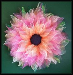 Pink & Ombre Deco Mesh Large Flower Wreath by ANobleTouch on Etsy