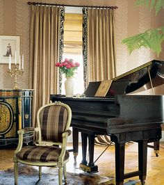 Google Image Result for http://eclecticrevisited.files.wordpress.com/2011/04/elegant-eclectic-home-decor-ideas-decorating-piano-black-accents-plaid-chair-gilt-french-wallpaper-curtain-panels-fringe-decoration-brown-beige-neutral-colors.jpg%3Fw%3D550