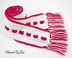 Heart Scarf by #CharmedbyEwe via @AllFreeCrochet   via I Heart Clothes - A LOVE Round Up by @beckastreasures   #crochet #pattern #hearts #kisses #valentines #love