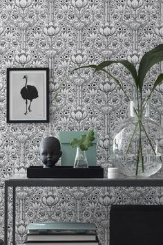 A unique take on the classic damask, this contemporary wallpaper that features ornate flowers is a wonderful feature wall option. Interior Wall Paint, Wallpaper, Room Wallpaper, Damask Wallpaper Living Room, Damask Wallpaper, Wall Wallpaper, Powder Room Wallpaper, Wallpaper Living Room, Black And White Wallpaper