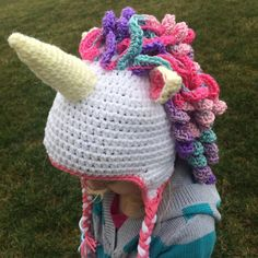 Unicorn Hat | Craftsy This adorable hat will be cute for all ages, and all sizes are included in this pattern! Change up the colors and have fun with it.   Sizes included: Newborn, 0-3 months, 3-6 months, 6-12months, 1-2 years, 18m-3years, 3-5 years, 5-8 years, 8years- Small Adult, and Adult.