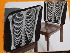 Skeleton Rib Cage Halloween Black Chair Covers  2 pack X-RAY  Also check out www.stores.ebay.com/jenscreationstx