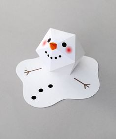 Melting paper snowman by Kate