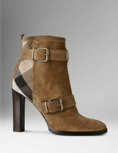 BURBERRY Check Jute Trim Suede Ankle Boots