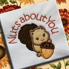Nuts About You Squirrel Fall Autumn Applique Design Pattern Machine Embroidery INSTANT DOWNLOAD Acorn Leaves Leaf Thanksgiving Woodland by PersonalLife on Etsy