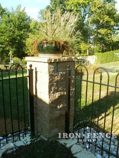 4ft tall iron hoop and picket style fence with corner stone pillar (Style #12 - Victorian Hoop)