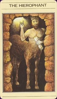 Mythic Tarot Hierophant.  The Wounded Healer: empathy, experience, wisdom, guidance.
