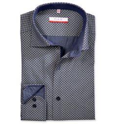 Modern Fit polopriliehavá modrá s potlačou košeľa Popelín (plátnová tkanina)